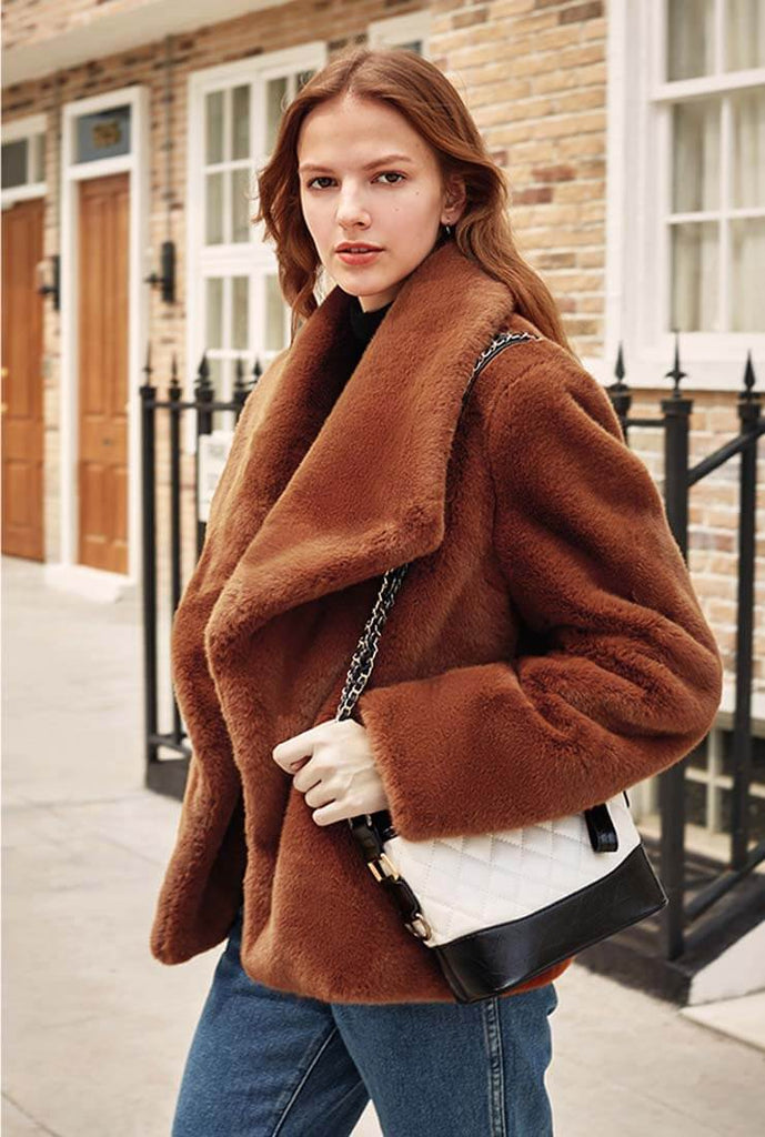 Luxury Winter Lapel Collar Faux Fur Coat