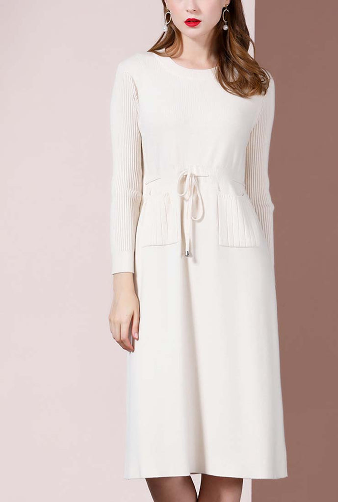 Solid Color Waist Drawstring Midi Sweater Dress