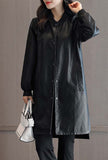 Winter Round Neck Black Faux Leather Coat