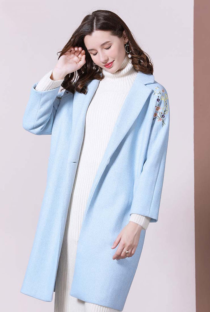 Floral Embroidered Wool Blend Mid-length Overcoat