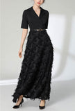 V-neck Fringed Feather Belted Maxi Dress
