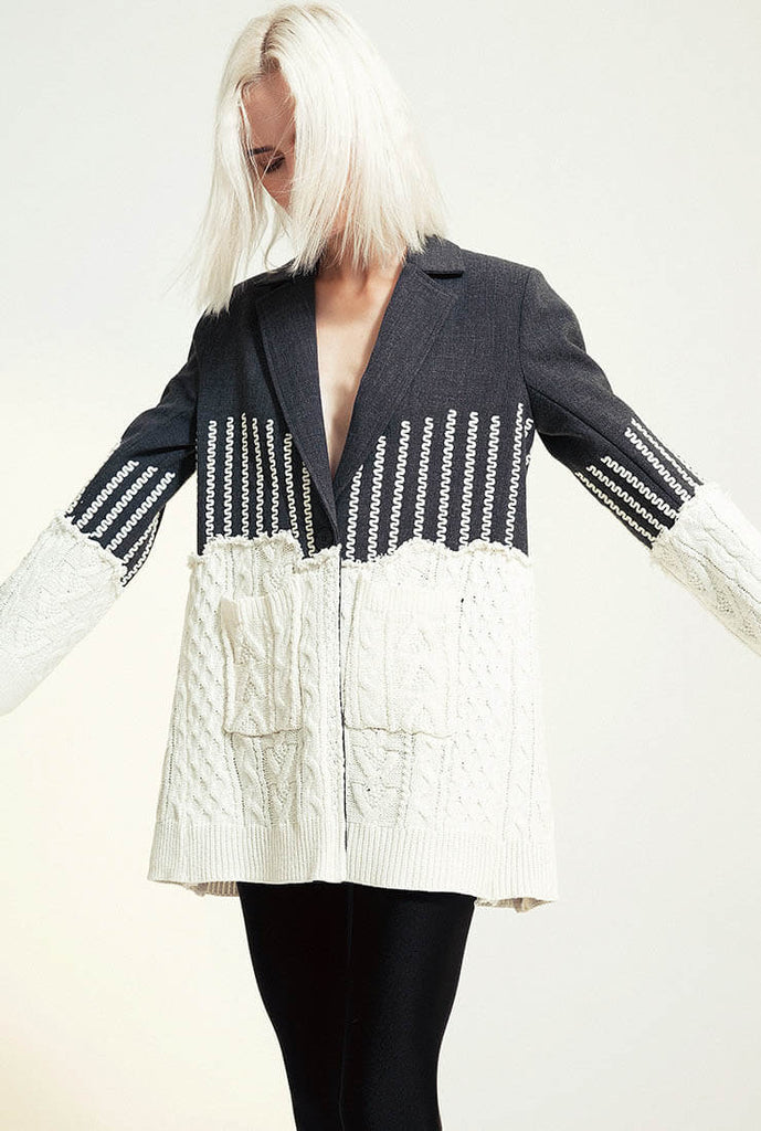 Patchwork Jacquard Knit Lapel Collar Coat