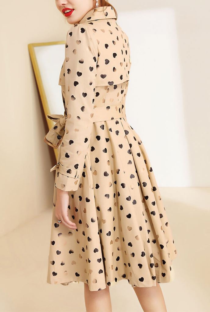 Heart Printed Mid-Length Trench Coat