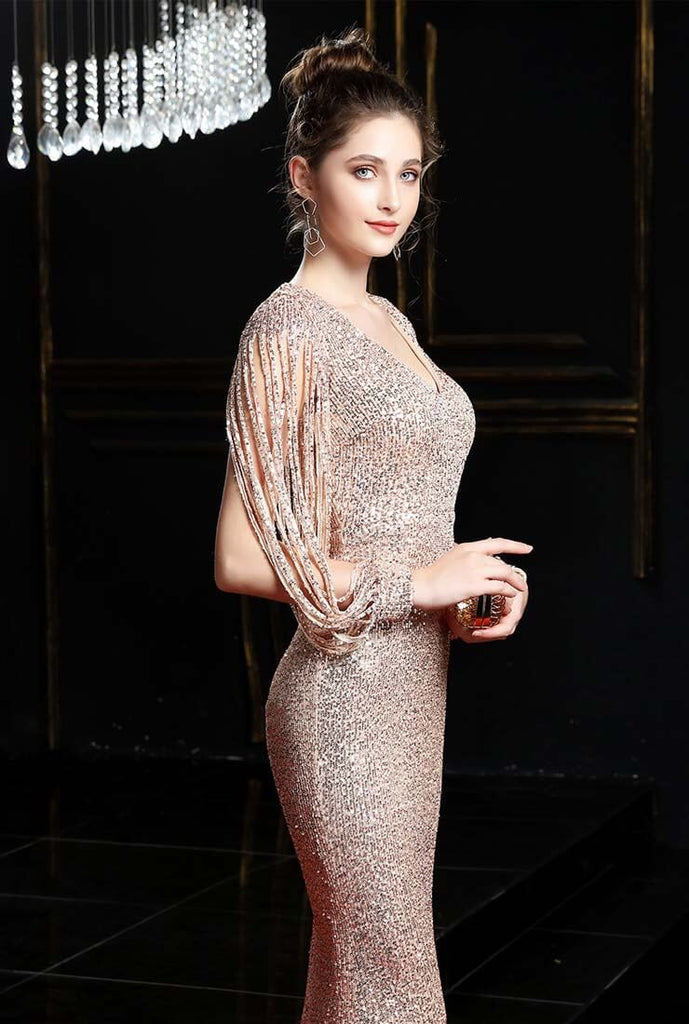 V-neck Fishtail Shiny Sequin Prom Dress