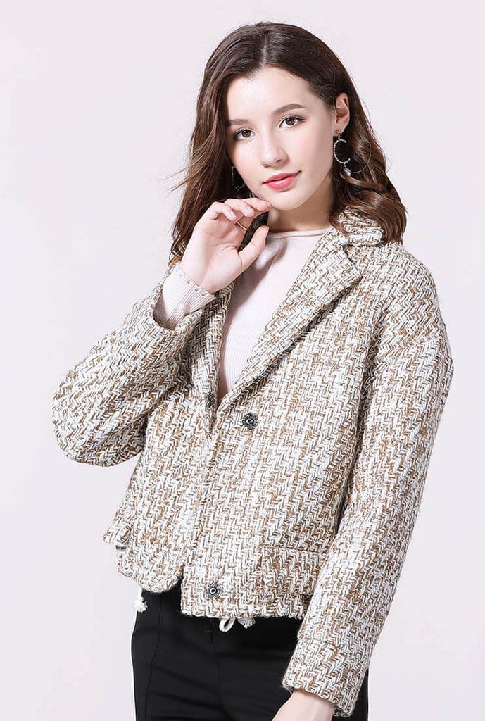 Loose Shape Lapel Collar Short Tweed Jacket