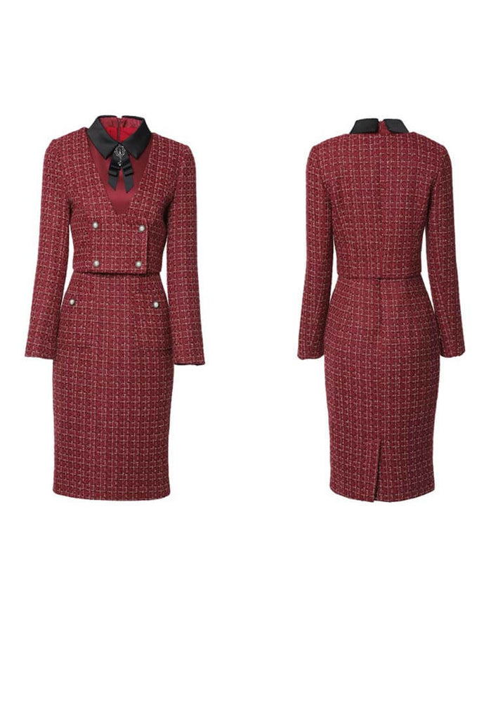 Women's Red Bow Tie Tweed Top + Midi Skirt Two Piece Set