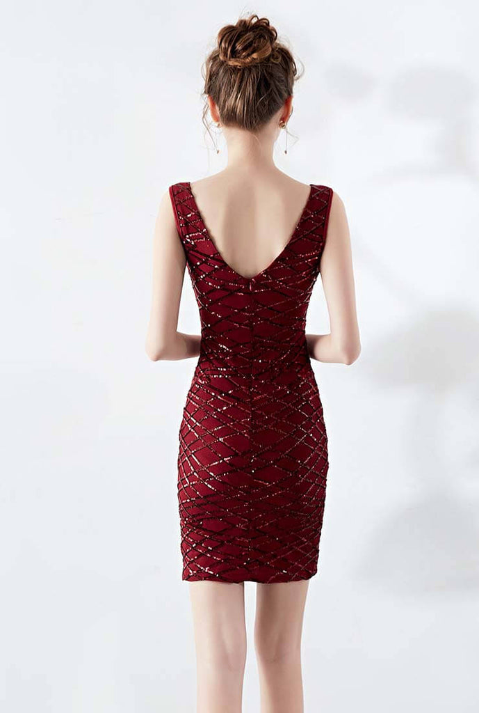 Multicolor Halter Sequin Slim Midi Cocktail Dress