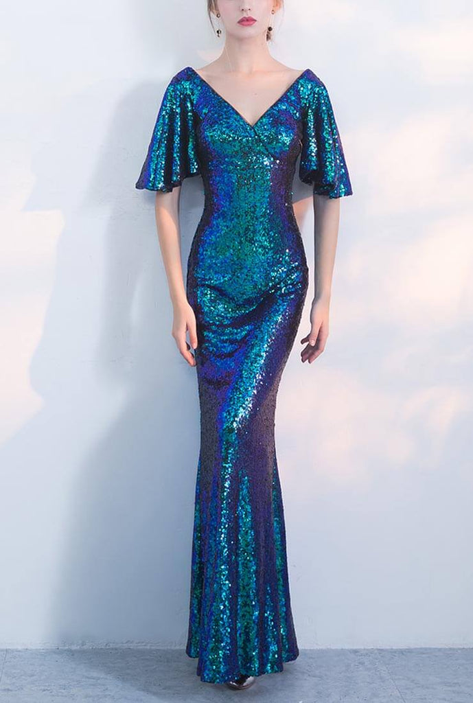 Sequined Fishtail Evening Gown Prom Dress