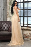 Deep V-neck Hollow Out Sequined Wedding Guest Prom Dress