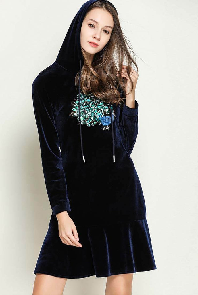 Splicing Embroidered Design Velvet Hooded Shirt Dress