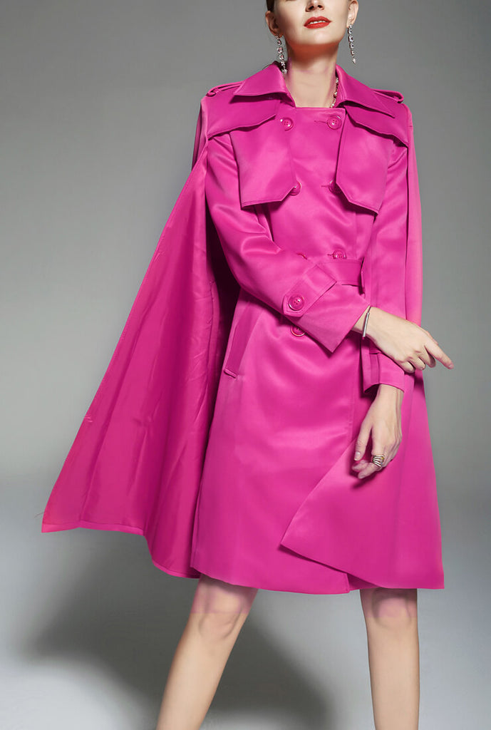 Solid Color Retro Over Knee Trench Coat
