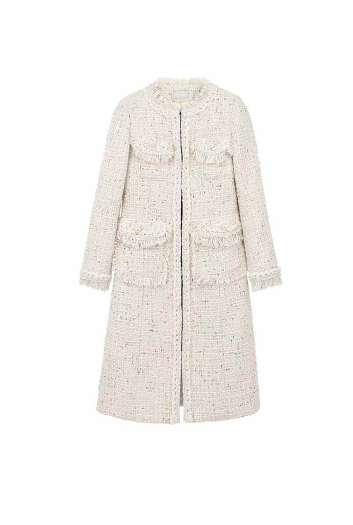 Vintage Style Fringed Tweed Long Coat