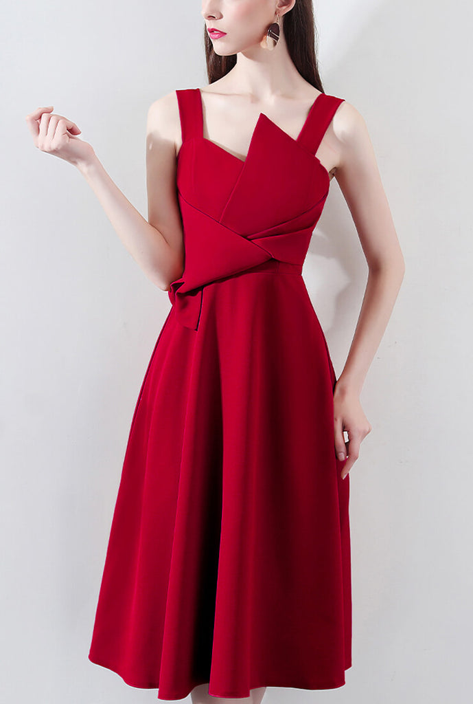 Red Strapless Formal Wrap Dress