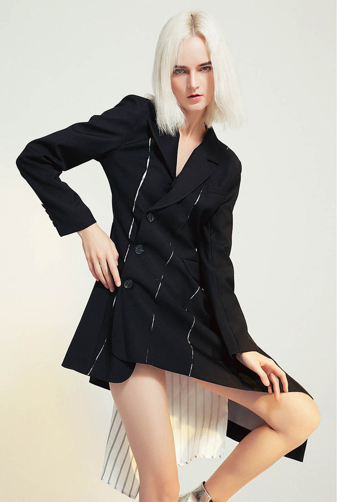 Single-breasted Slim Waist Patchwork Blazer Long Coat