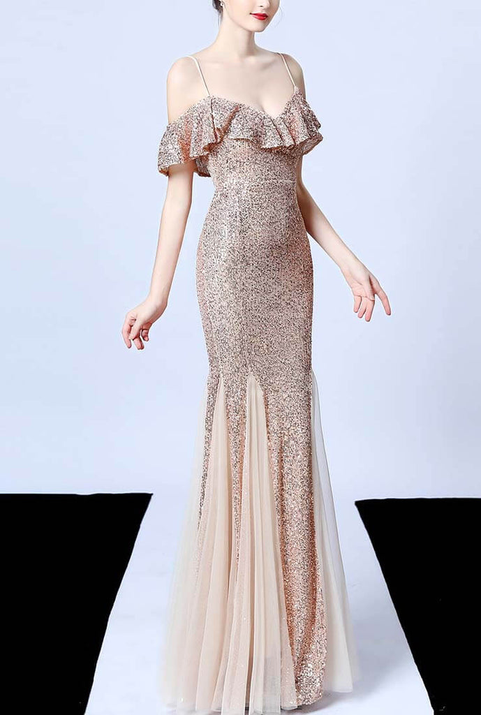 Off The Shoulder Tassels Fishtail Sequin Prom Dress