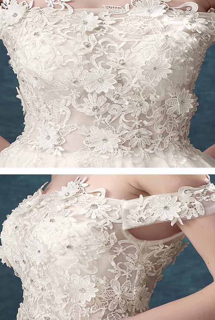 Off The Shoulder Lace Embroidered Tulle Bridal Prom