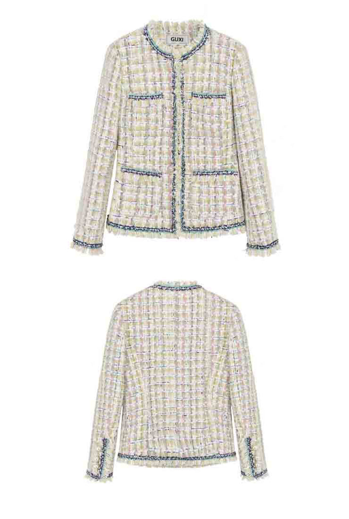 Vintage Front Pockets Classic Style Little Tweed Jacket