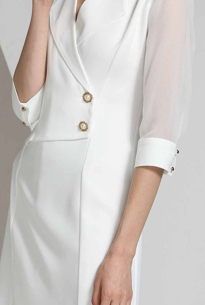 Solid Color V-neck A-line Shirt Dress