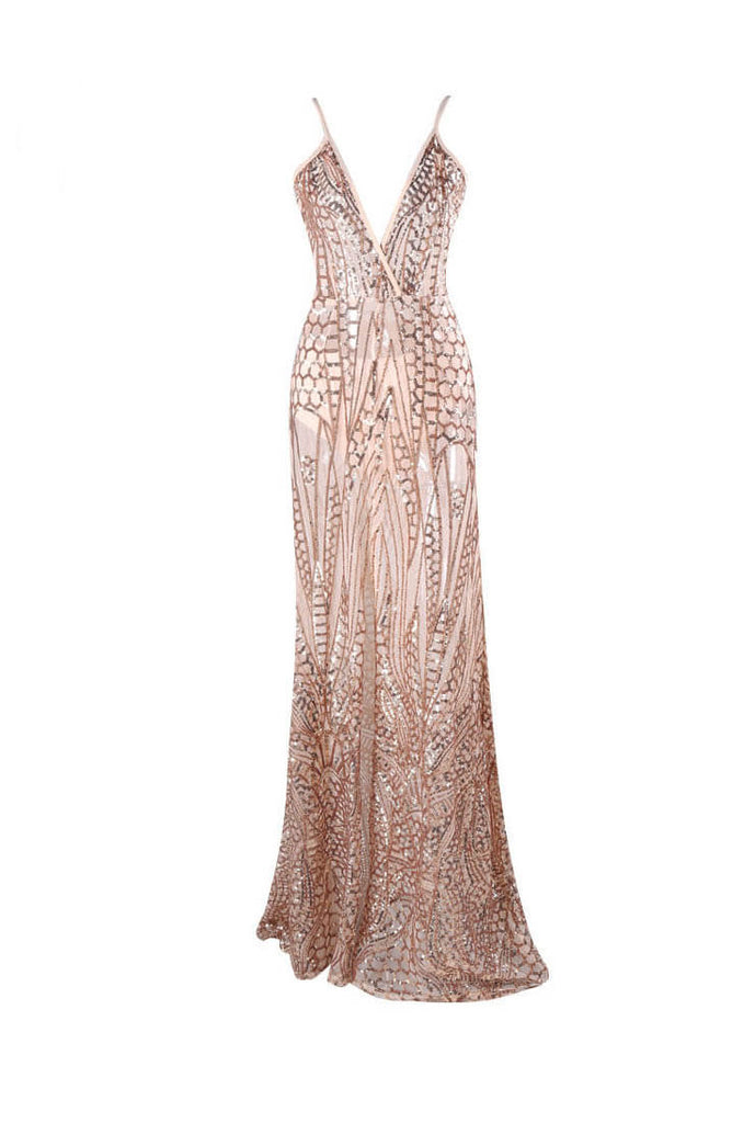V-neck See-through Sequin Slip Party Prom Dress