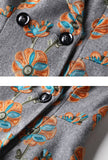 British Style Embroidered Wool Lapel Overcoat