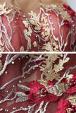 Lace Embroidered Tiered Tulle Halter Red Prom Dress