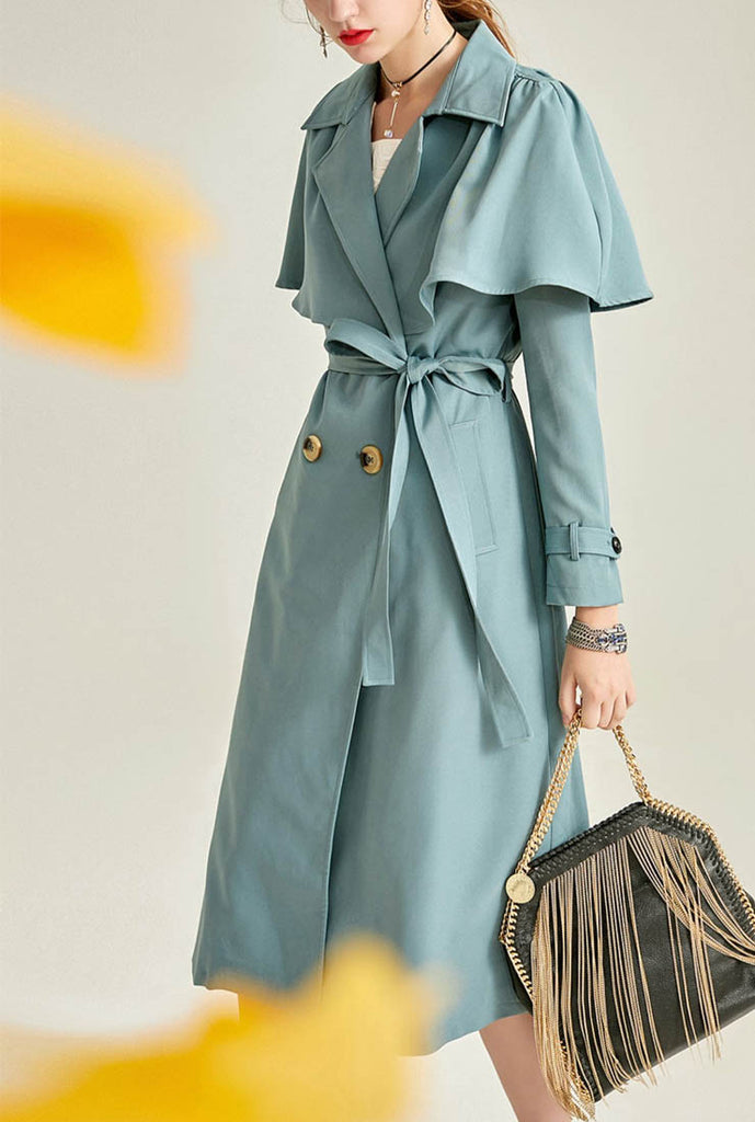 Women London Fog Belted Cape Trench Coat