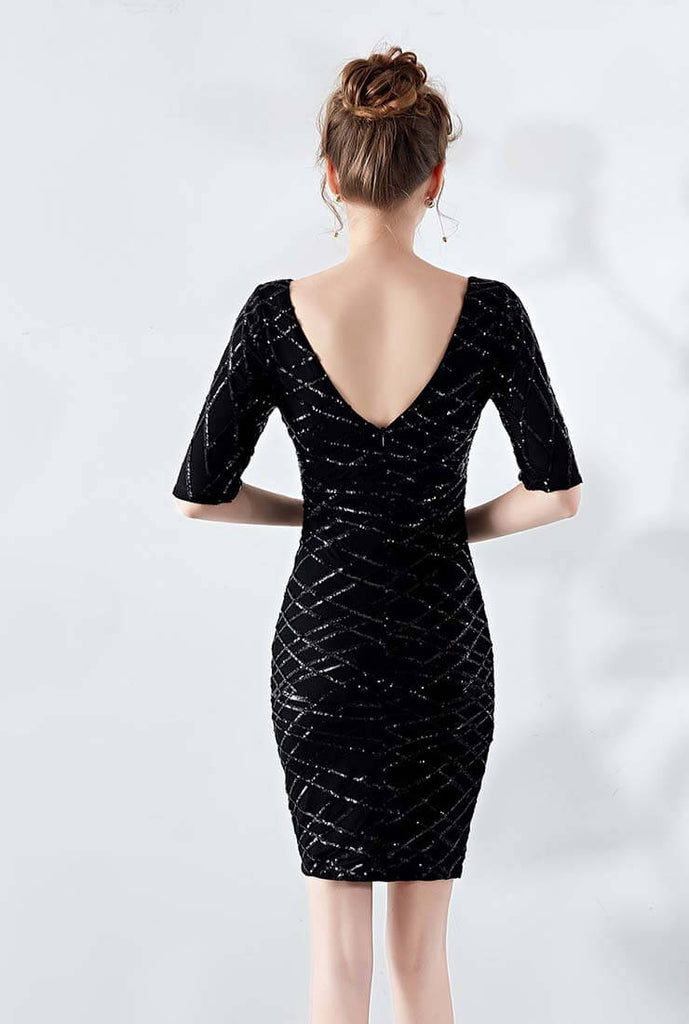 V-neck Sequin Sheath Midi Cocktail Dress
