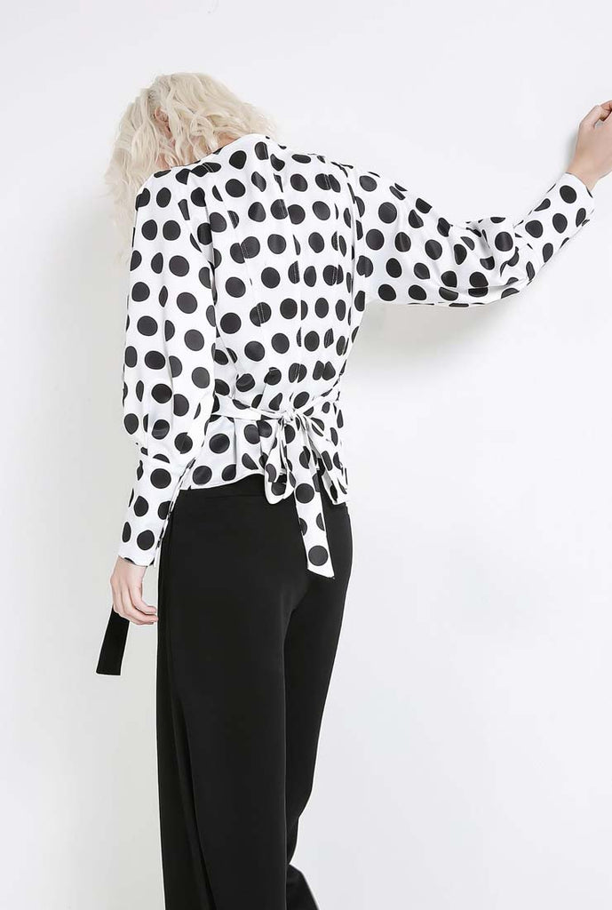 Polka Dots V-neck Long Sleeve Blouse Shirt