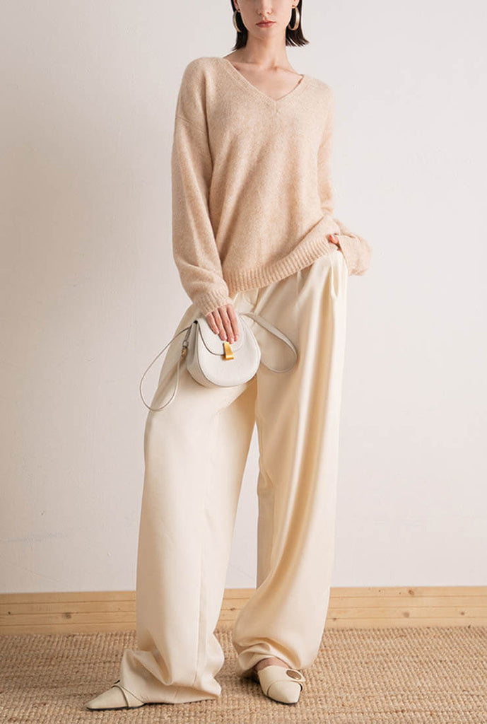 Solid Color V-neck Loose Pullover Knit Sweater