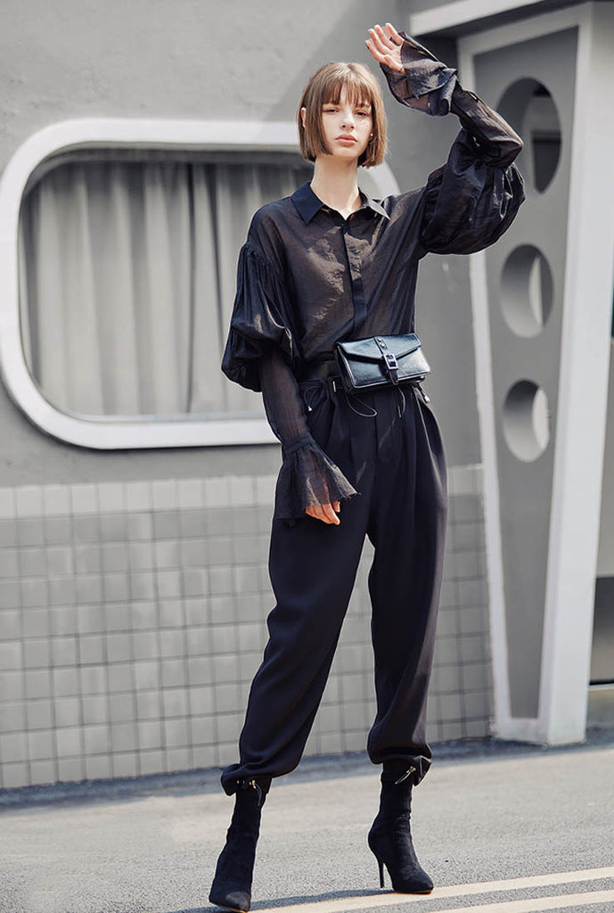 High Rise Drawstring Wide Leg Ankle Pants