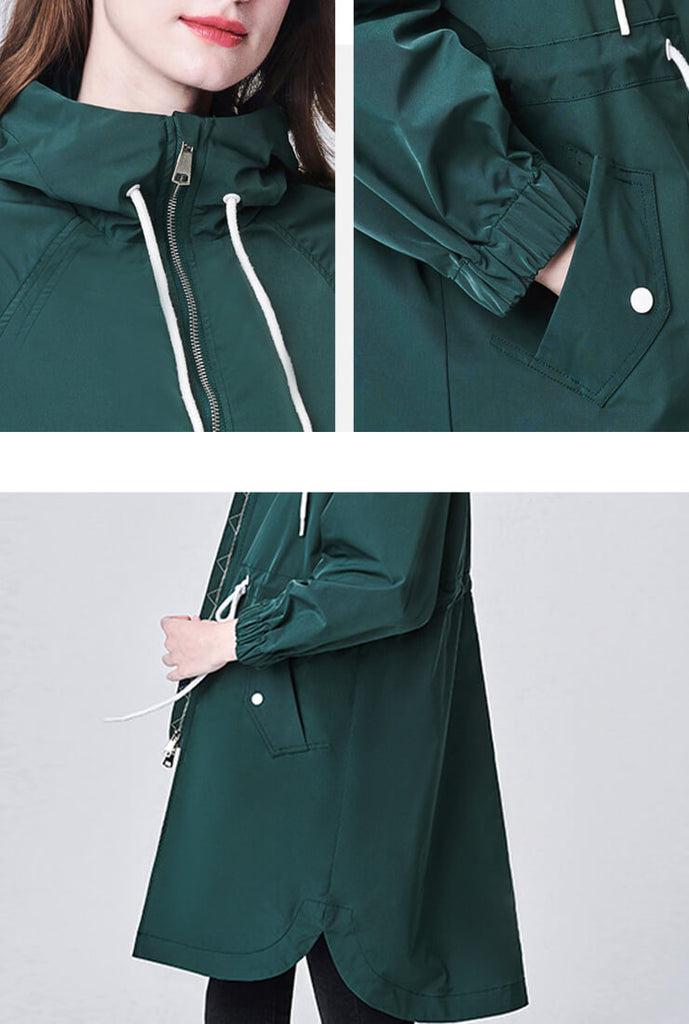 Loose Cinched-Waist Trench Hooded Jacket
