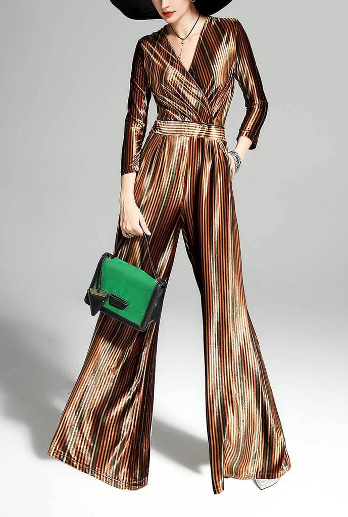 Autumn V-neck Gold Velvet Long Jumpsuit
