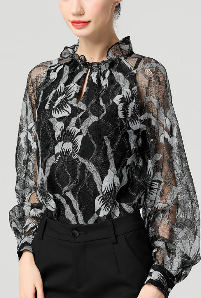 Black Lace Openwork Long Sleeve Shirt