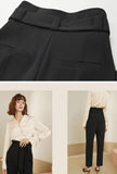 Black Lace Up Straight High Waist Suit Pants