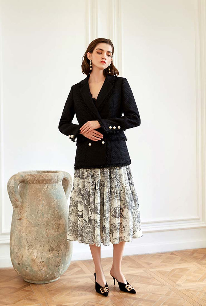 Black Lapel Collar Fringed Tweed Blazer Coat