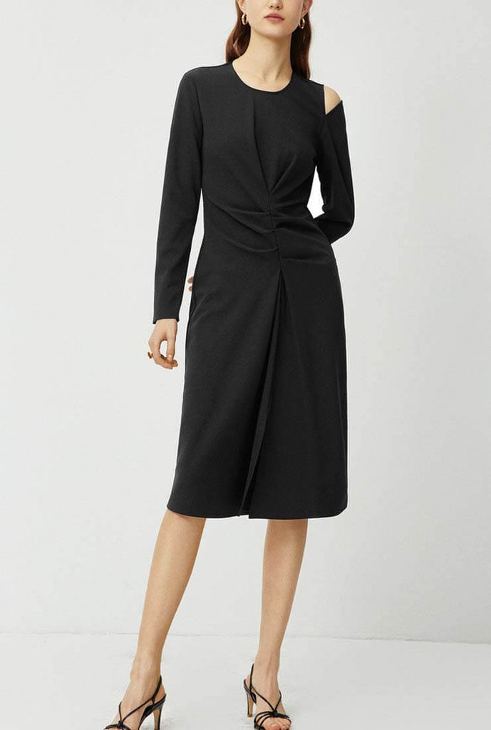 Black Long Sleeve Midi Dress