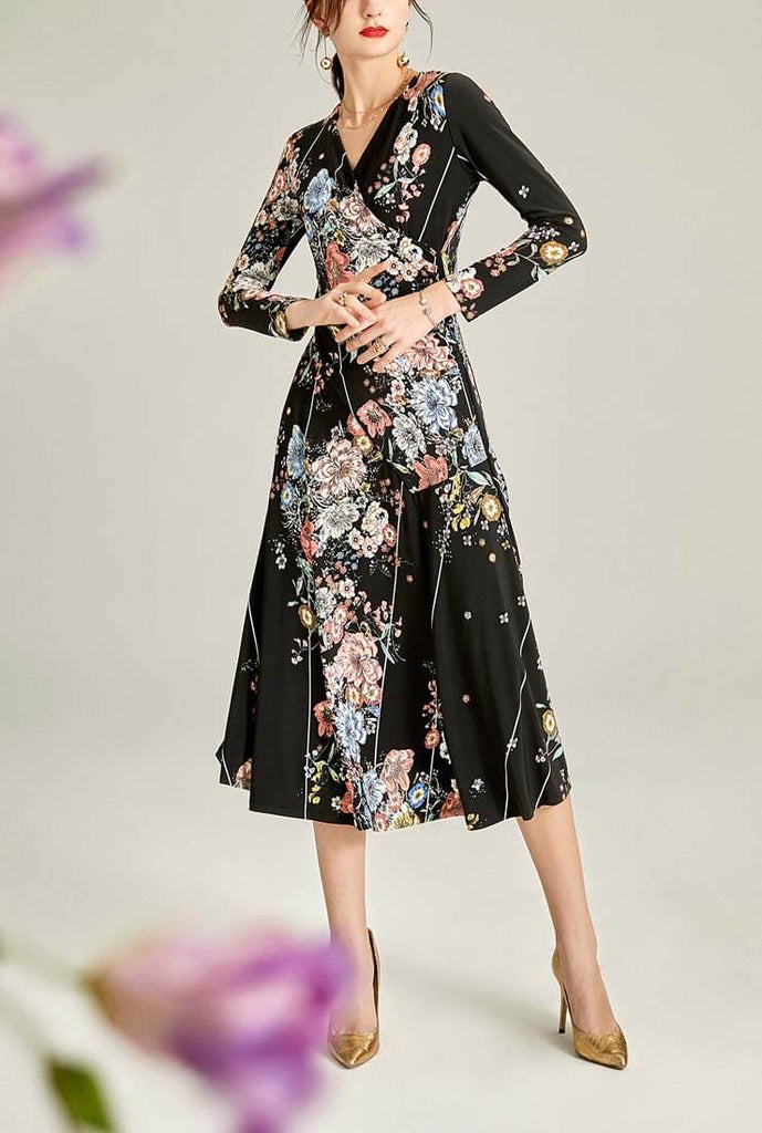 Black Printed Vintage Long-sleeved Maxi Dress