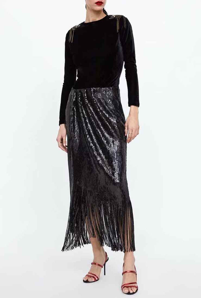 Black Sequin Tassel Long Skirt