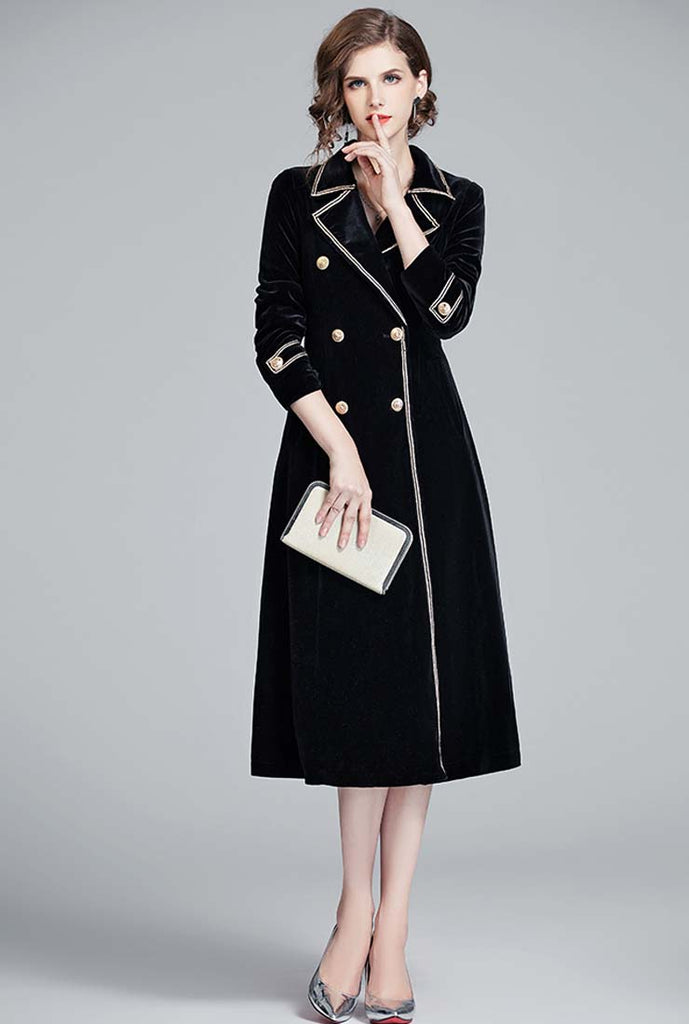Black Velvet Double-breasted Trench Coat