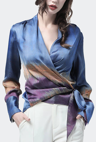 Blue Chiffon Long Sleeve V-neck Blouses