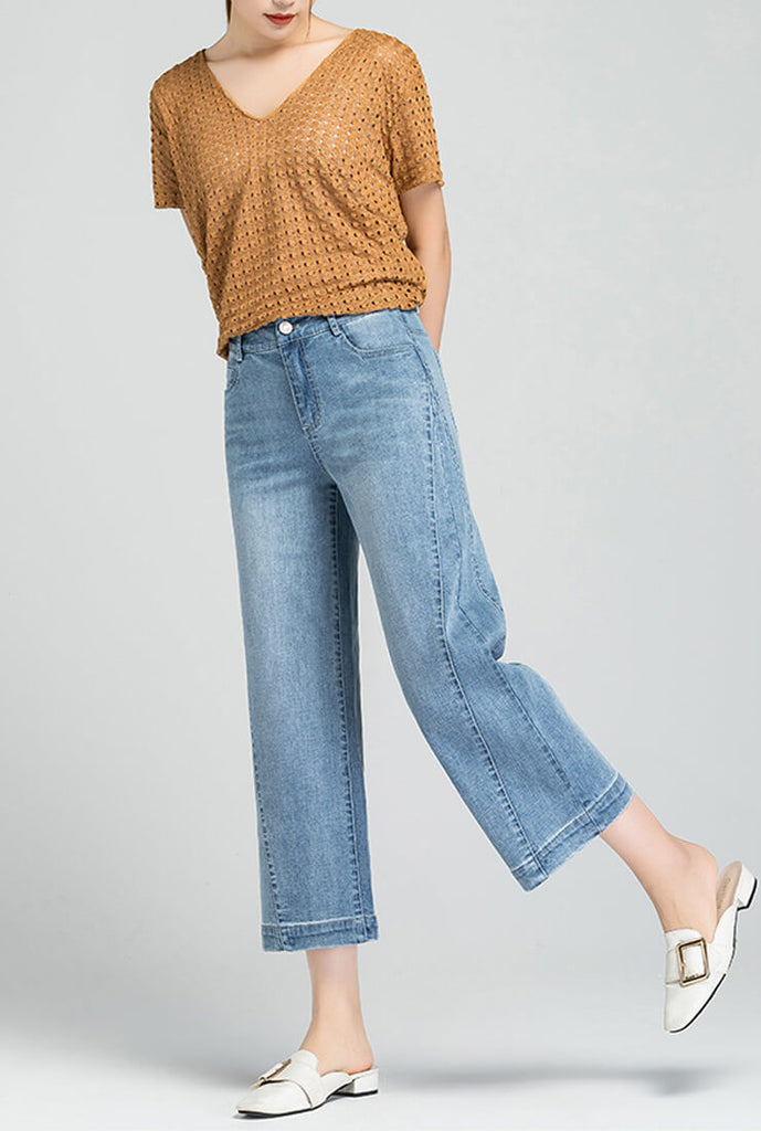 Blue Denim Wide Straight Pants