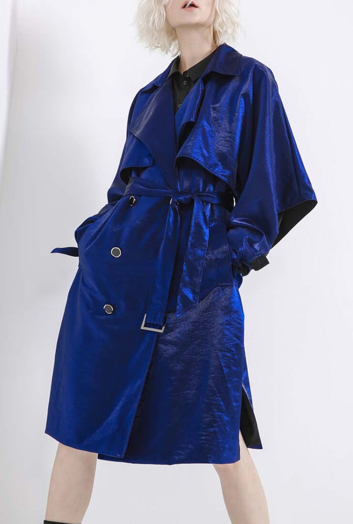 Blue Glossy lapel mid-length Trench Coat