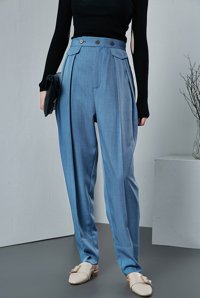 Blue Tapered Plus Size Wide Pants