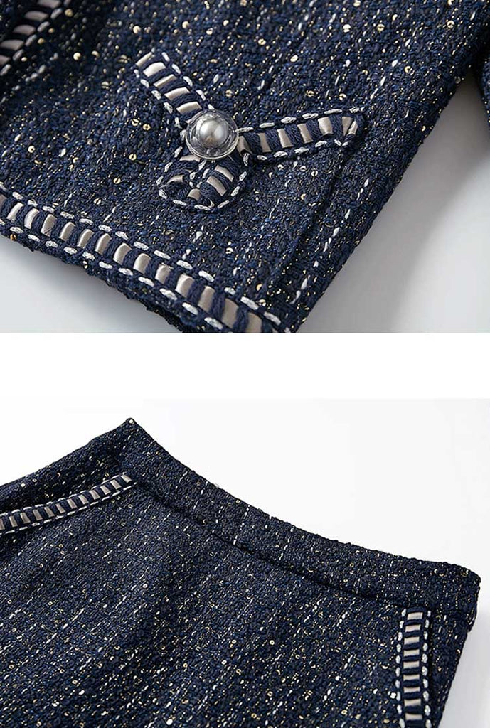 Dark Blue Tweed Jacket + Skirt Two-Piece Set