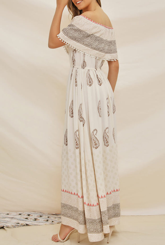 Bohemian One-shoulder Chiffon Maxi Dress