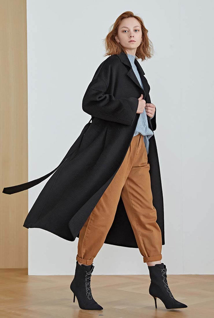 Bouble-sided Wavy Cashmere Long Wool Coat