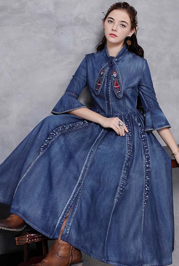Bow-Tie Neck Half-Sleeves Loose-Fit Denim Maxi Dress