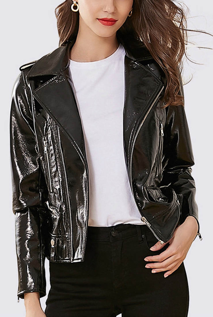 Bright Black PU Leather Biker Jacket