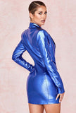 Bright Blue Leather Blazer Mini Dress