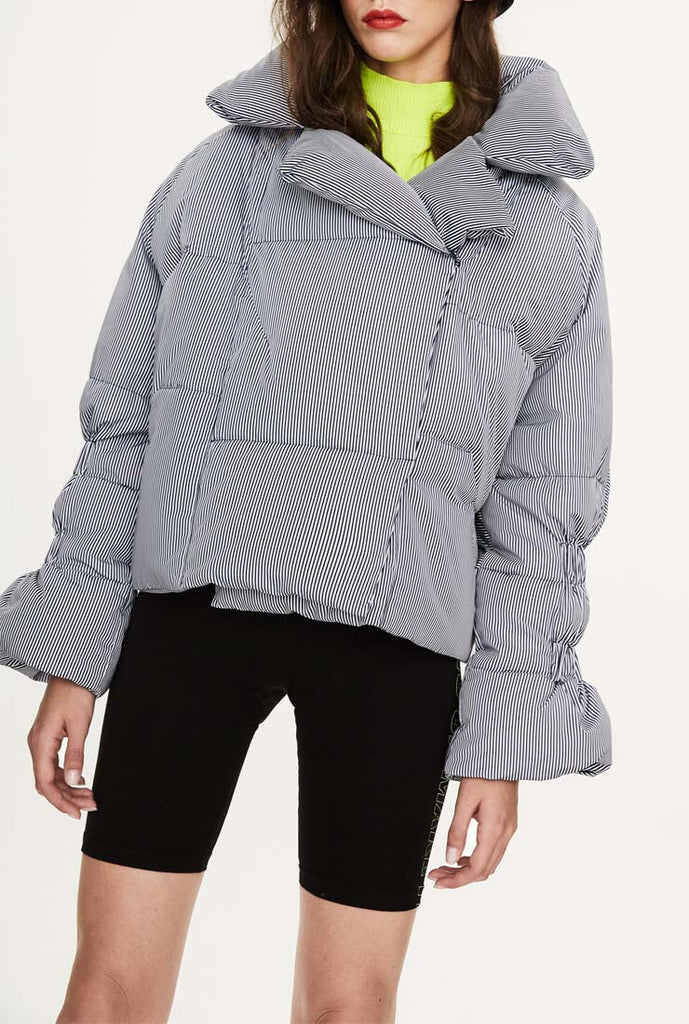 British Striped Short Down Puffer Jacket